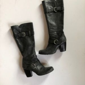 BORN Gray Leather Knee Boots